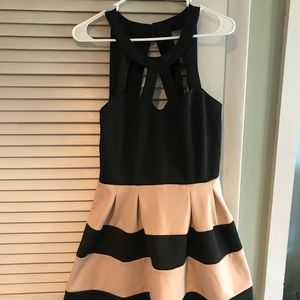 Black and cream party dress